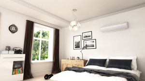 een warmtepomp of airco in woningbouw en slaapkamers