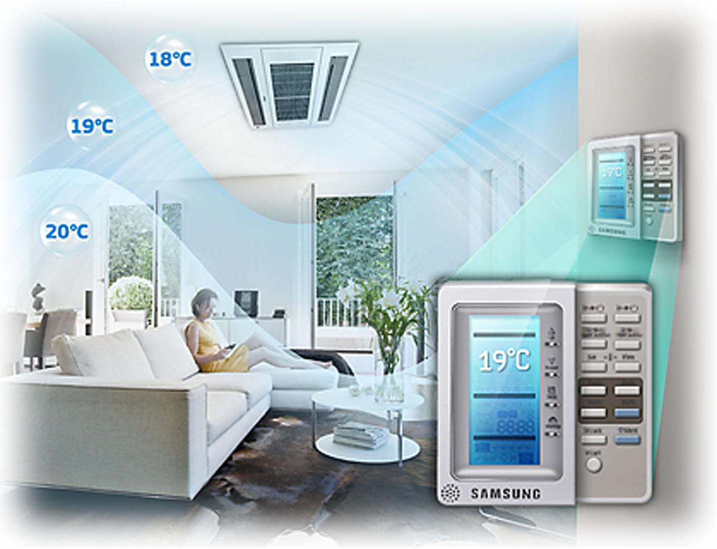 Samsung 2-weg cassette warmtepomp airco in woning