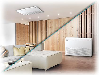 Samsung vloer plafond model warmtepomp airco met meervoudige installatie