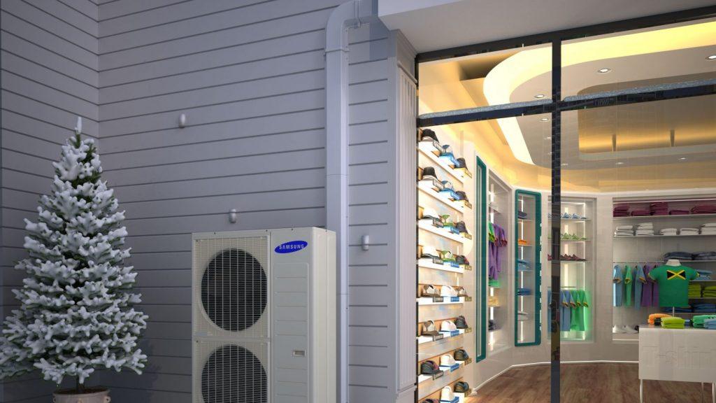 Samsung ambrava DVM S eco warmtepomp winkel